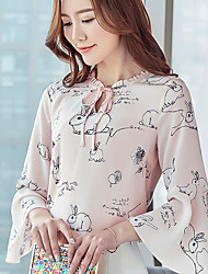 Really making new 2017 spring new blouses print chiffon shirt