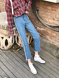 Sign homemade spring new small baggy jeans tapered edges simple casual pants
