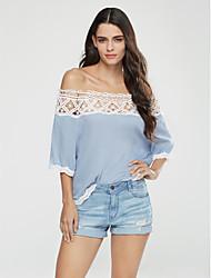 Damen Solide Einfach Lässig/Alltäglich T-shirt,Bateau Frühling / Herbst Langarm Blau / Weiß / Schwarz Polyester Mittel