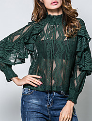 Women's Going out Formal Work Sexy Vintage Spring Summer Shirt Solid Jacquard Crew Neck Long Sleeve Cotton Lace Translucent White/Black/Green/Brown