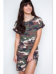 amazon des femmes étrangères 2017 nouveau col rond manches raglan camouflage robe d'impression