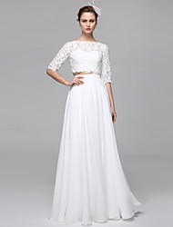 Lanting Bride® A-line Wedding Dress Two-Piece Wedding Dress Floor-length Bateau Chiffon Lace with Appliques Draped