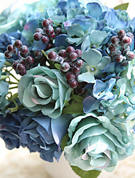 8 Heads/ Bouquet Rose Hydrangea  Berry  Tie-In Hand Tied Bouquet Artificial Flower