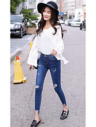 Ms. spring models Korean version of the hole feet jeans trousers elastic thin pencil pants