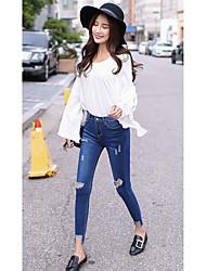 Mme. modèles de printemps version coréenne du trou pieds pantalon en jean minces pantalons crayon élastiques