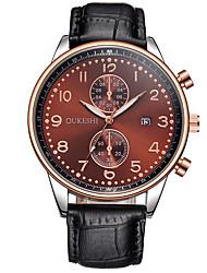 Masculino Relógio de Moda Relógio de Pulso Quartzo Calendário Couro Banda Legal Casual Preta Branco Preto Marron Azul