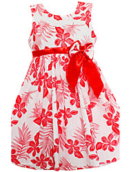Girls Summer Fashion Dress Red Flower Bow Belt Party Princess Wedding Children Clothes
