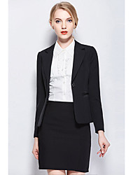 Women's Work Simple All Seasons Blazer Skirt Suits,Solid Notch Lapel Long Sleeve Polyester Spandex