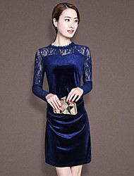 Sign ladies 2017 new net yarn stitching round neck long-sleeved dress hip pockets closed