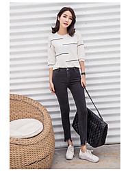 Signer pantalons féminins à la mode pantalons élastiques jeans neuf pieds minces était mince pantalon coréenne coréenne