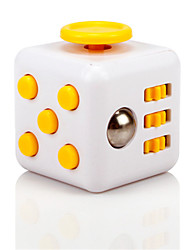 Anxiety Reliever Fidget Dice Cubic Cube Fidget Toys for Focusing / Stress Relieving ABS --White &  Yellow