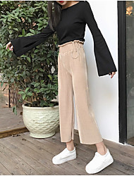 Sign 2017 spring loose casual solid color was thin elastic waist wide leg pants nine points circle Nett