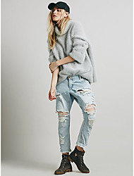 Amazon ebay aliexpress explosão modelos sexy européia estilo jeans pantyhose buraco tassel