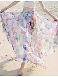 Damen Mittlere Hüfthöhe Strand Urlaub Maxi Röcke Schaukel Blumen Sommer