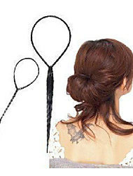 2 pcs /Sets Of Ponytail Hair Braider Creator Plastic Loop Styling Tools Black Topsy Tail Clip Hair Braid Styling Tool