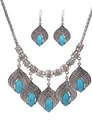 Collar / pendientes Turquesa Moda Personalizado Euramerican Turquesa Legierung Joyas Azul 1 Par de Pendientes Collares ParaBoda Fiesta