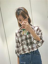Women's Going out Simple Shirt,Check Shirt Collar Long Sleeve Linen