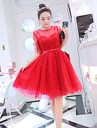 New Heavy beading waist big swing dress stitching gauze tutu dress female elegant ladies