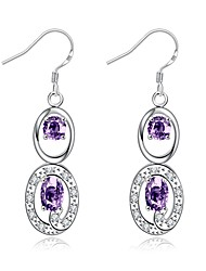 Boucles d'oreille goutte Cristal Plaqué argent Pendant Larme Violet Blanc transparent BijouxMariage Soirée Halloween Quotidien