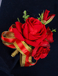 Wedding Flowers Free-form Roses Peonies Boutonnieres Wedding Party/ Evening Red Satin