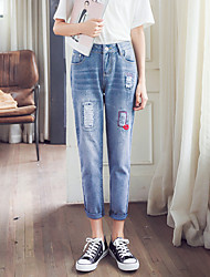 Sign spring new light hole denim trousers tide jeans female personality red lips