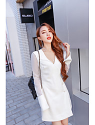 Sign temperament 2016 autumn new high-end dress coat on white organza sleeves over long sleeves horn