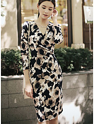 Women's Going out Bodycon Dress,Floral V Neck Knee-length Long Sleeve Polyester Spring Summer Mid Rise Micro-elastic Medium