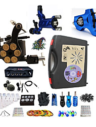 Complete Tattoo Kit 3  Machines Dual LED Digital Power Supply  liner & shader
