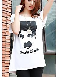 signe verges gros graisse mm était mince tête à manches longues femmes t-shirt chauve-souris coton modal chemise chaplin et de longues