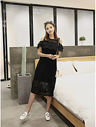 2017 summer new college wind small fresh strapless elastic waist long section of hollow lace dress