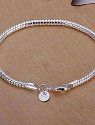Women's Chain Bracelet Basic Fashion Classic Sterling Silver Round Silver Jewelry For Party Daily 1pc