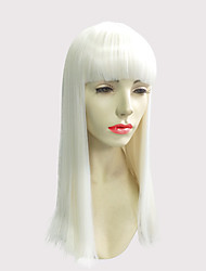 White Wig Synthetic Fiber Wig Long Straight Color With Neat Bangs Cosplay Costume Wig
