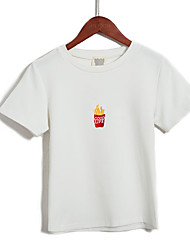 40 cotton wool consumption has shipped 2017 summer cute fries embroidered T-shirt female