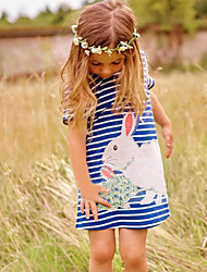 Girl's Going out Casual/Daily Party/ Striped Floral Color Block DressCotton Polyester Satin Blended Cotton All Seasons Sleeveless