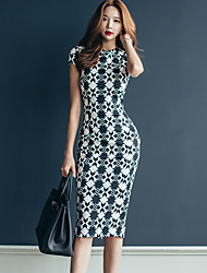 2017 summer new Korean Slim OL temperament simple package hip image printing long section dress