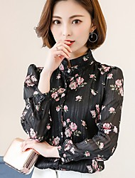 Women's Casual/Daily Formal Work Street chic Blouse,Floral Shirt Collar Long Sleeve Polyester