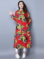 Mujer Corte Swing Vestido NocheFloral Escote Chino Midi Manga Larga Algodón Primavera Tiro Medio Microelástico Medio