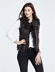 Women's Casual/Daily Simple Fur Coat,Solid Sleeveless Winter Rabbit Fur Raccoon Fur