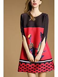2016 лето новые женщины&# 39; s мода раунд шеи свободным рукавом платье напечатано слово