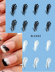 10pcs Hot Sale Summer Nail Art Water Transfer Decals Beautiful Black&White Feather Sticker Nail Art Beauty Decals BLE892