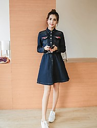 Sign 2017 new women's large size long-sleeved dress Slim thin waist stretch denim dress