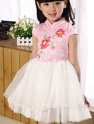 Girl's Casual/Daily Solid Dress,Cotton Summer Short Sleeve