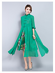 Sinal fêmea eólica nacional traje upscale seção vestido longo cheongsam melhorou sol vestuário de proteção de seda verão