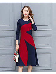 Sign 2017 spring new Beckhams the same paragraph hit color stitching long skirt dress big European and American Spring