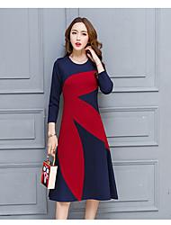 2017 printemps signer de nouveaux Beckhams la même robe jupe longue coutures de couleur hit point grand printemps européen et américain