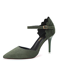 Women's Heels Club Shoes Microfibre Spring Summer Office & Career Dress Party & Evening Club Shoes Buckle Flower Stiletto HeelBlack Army