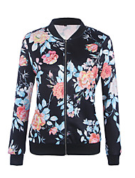 Women's Casual/Daily Work Vintage Sophisticated Spring Fall Jacket,Print Stand Long Sleeve Regular Cotton Acrylic