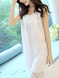 Women Chemises & Gowns Nightwear,Sexy Solid-Medium Chiffon White Women's