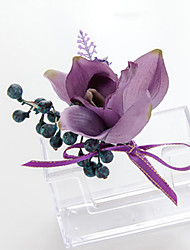 Wedding Flowers Free-form Lilies Lavenders Boutonnieres Wedding Party/ Evening Purple/Pink/Green Satin