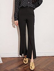 Personality super thin slit hem flared trousers pantyhose giant was thin!
